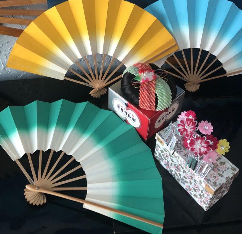 "1 XL*JAPANESE 20""ODORI GEISHA DANCE FAN HAND HELD SENSU FOLDING*GREAT DISPLAY"