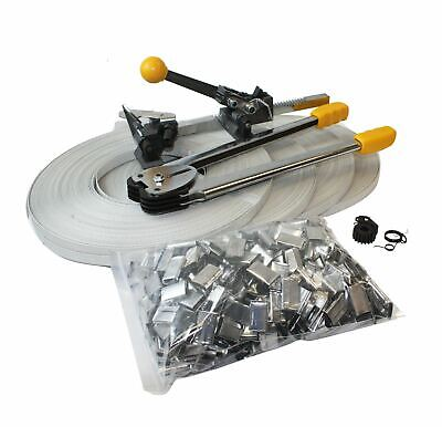 Packaging Strapping Tool Kit Crimper Strap 400 Seals 4 Banding Rolls 690 Ft