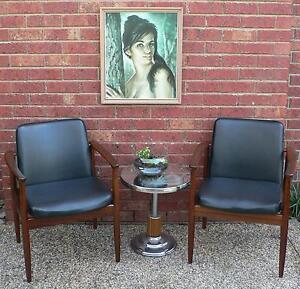 2 x Retro Vintage Dining Chairs Office Chairs in solid Blackwood Wantirna South Knox Area Preview