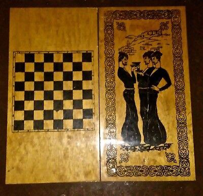 Vintage Asian Oriental Folding Wooden Backgammon Checkers Set Game Table