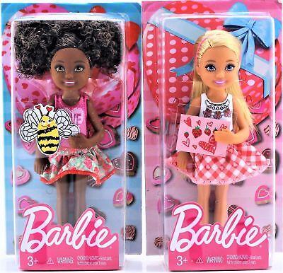 Set of 2 Mattel Valentine Barbie Chelsea Dolls African American & Blonde 5.5