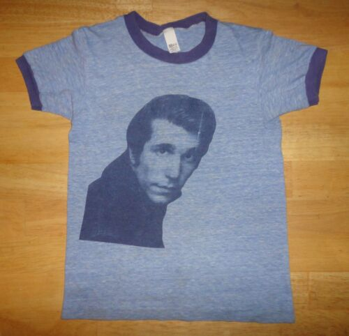Vintage HAPPY DAYS FONZIE THE FONZ Blue Ringer Single Stitch Shirt Youth Medium