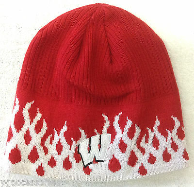 738b952fee7 NCAA Wisconsin Badgers Adidas Cuffless Winter Knit Hat Cap Beanie NEW!