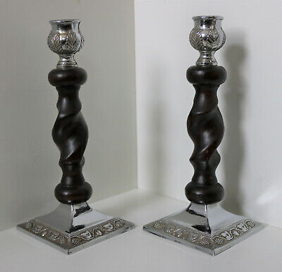VINTAGE PAIR OAK BARLEY TWIST CANDLESTICKS / ANTIQUE ART DECO CANDLE HOLDERS 14