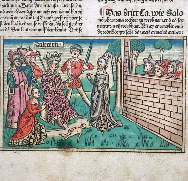 Antique Anton Koberger Bible Leaf w/ Woodblock Judgement of Solomon 1483 Germany