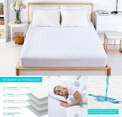 LUXURY WATERPROOF QUILTED MATTRESS PROTECTOR SINGLE SMALL DOUBLE SUPER KING SIZE