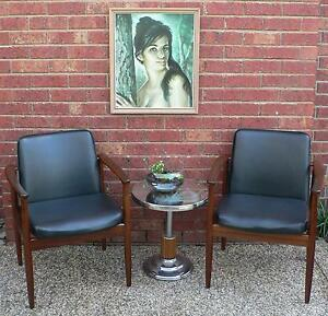2 x Retro Vintage Dining Chairs Office Chairs in Blackwood Wantirna South Knox Area Preview