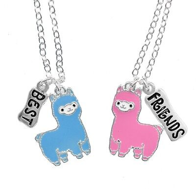 BEST FRIENDS BFF CUTE LLAMA ALPACA NECKLACES FOR 2 GIRLS NECKLACE SET XMAS