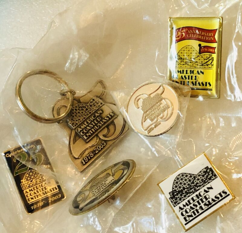 Amusement Park Travel Pin & Keychain Lot Roller Coaster 25th Enthusiasts Sealed