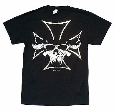 DANZIG BEAST SKULL SILVER FOIL IRON CROSS BLACK T-SHIRT SMALL NEW OFFICIAL