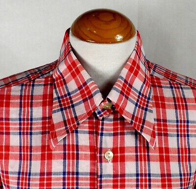 1970s Mens Shirt Styles – Vintage 70s Shirts for Guys 1970s Red Blue and White Check Short Sleeve Dagger Collar Shirt by Rally Size L $28.19 AT vintagedancer.com