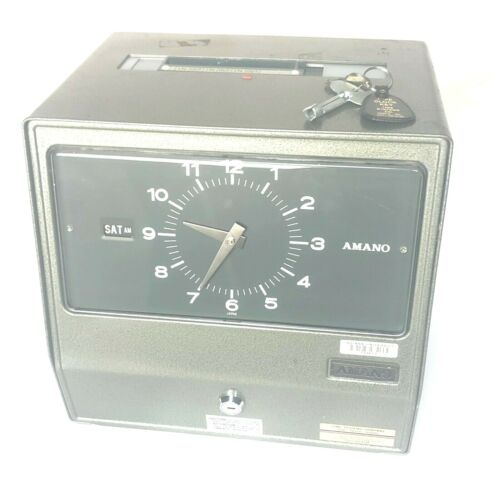 Amano Series 9000 Model 9009 Time Clock Recorder Analog Heavy Vintage Green