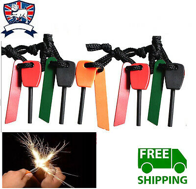 survival Camping Emergency Gear Kit Magnesium Flint Stone Fire Starter Lighter #