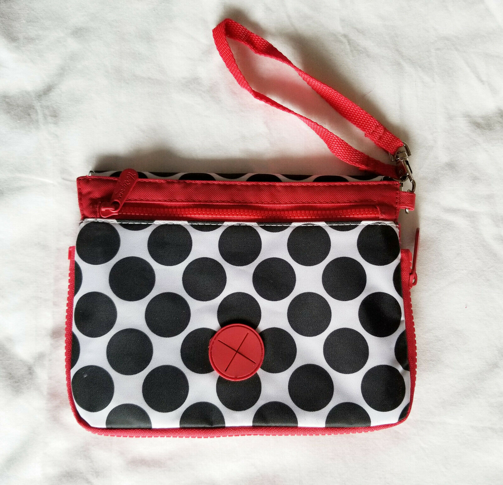 Pet Food/Water Bowl~Expandable Compact Wristlet Bag~White Red w/Black Polka Dots
