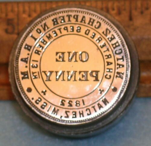 1914 NATCHEZ MS Chapter No 1 RAM MASONIC PENNY Stamping Die * MC Lilley