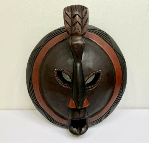 """African Tribal Mask Wood Wooden Hand Carved Wall Hanging Ghana Decorative 12.75"""""""