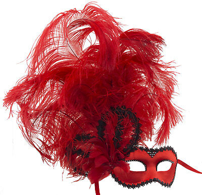 Mask Venice Colombine satin in Feathers ostrich red Paper mache 22429