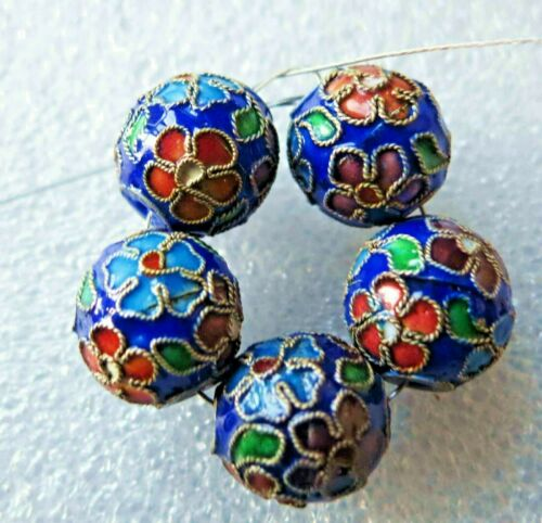 5pc RARE Vintage Chinese Flowers Enamel Cloisonne Beads 11mm