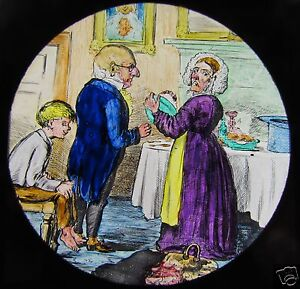 HAND-COLOURED-Glass-Magic-lantern-slide-COMICAL-VICTORIAN-CARTOON-NO4-C1890