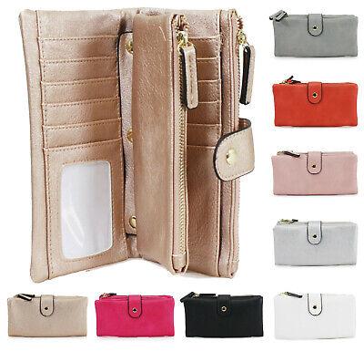 Ladies Women's Large Purse Bifold Double Zipped Compartments Wallet Purses UK