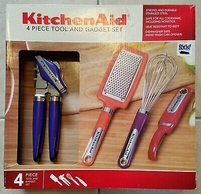 KitchenAid 4 Piece Tool And Gadget Set - Can Opener Grater Whisk Peeler Open Box Kitchenaid Gadget