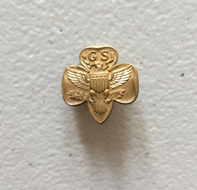 Magnetic 1940s WWII Girl Scout Membership Pin Thin Stamped Steel Rare