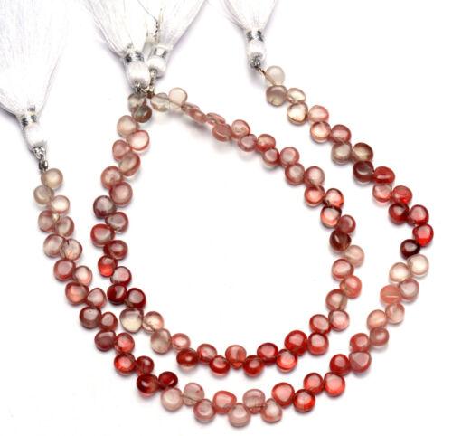 "Natural Gem Andesine Labradorite 5mm Size Smooth Heart Shape Beads 8.5"" Strand"
