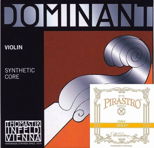 Dominant Violin Strings Set 4/4 Size 135B A,D,G W/Gold Label E Ball End* *NEW* *