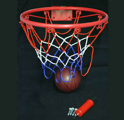 BASKETBALL RING HOOP NET WITH WALL MOUNTING BRACKET HANDPUMP AND BALL