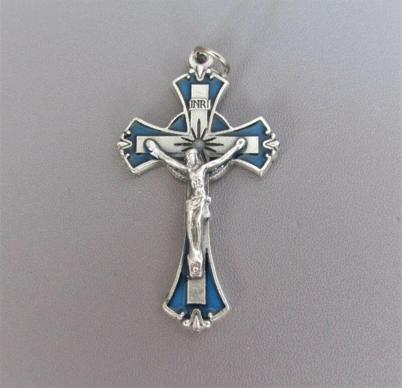 "BLUE & Silver Enamel Rosary Crucifix 2"" ITALY rosaries Cross Parts  C202*"