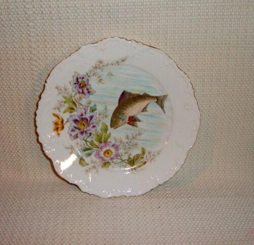 Porcelain Plate w/ FISH & FLOWER Design