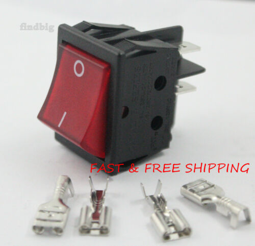 Rocker Switch Canal R Series Red Illuminated Double Pole 20A 16A 4 Pin