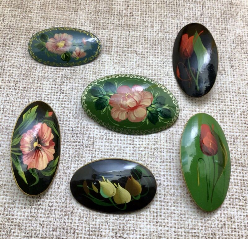 Vintage Lot Of 6 Russian Lacquer Hand Painted Signed By Artist Wood Brooch Pins
