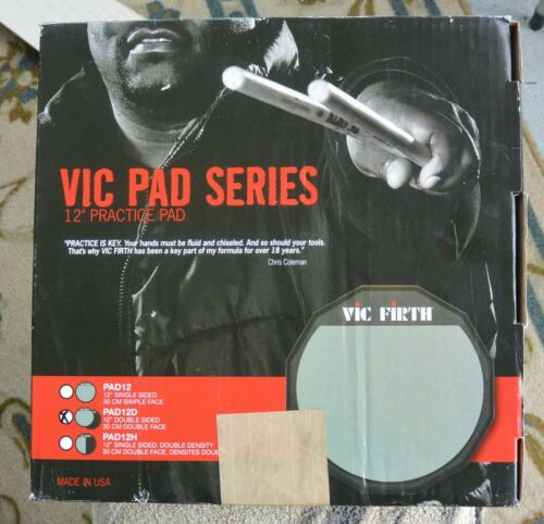 "VIC FIRTH 12"" PRACTICE DOUBLE SIDED DRUM PAD PAD12D IN ORIGINAL BOX"