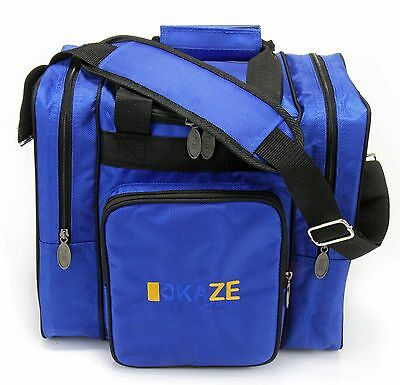 KAZE SPORTS Deluxe 1 Ball Bowling Tote Bag Two Side Pocket One Single Blue
