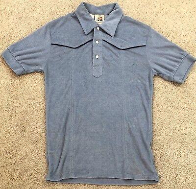 VTG 60s 70s Mens XS Kennington Pearl Snap Terry Cloth Shirt Disco Mod - Mens Disco Clothing