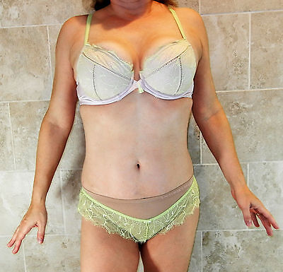 FELINA SHEER GREEN LACE OVERLAY ON PINK PADDED CUPS BRA AND PANTY SET 32D GVC