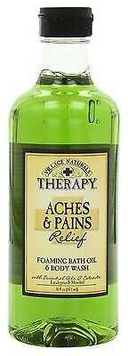 (3 Pack) VILLAGE NAT. ACHES + PAINS MUSCLE BATH OIL & WASH 16 Ounce