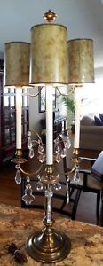 BEAUTIFUL VINTAGE STIFFEL 3 ARM TABLE LAMP WITH CRYSTAL PRISMS