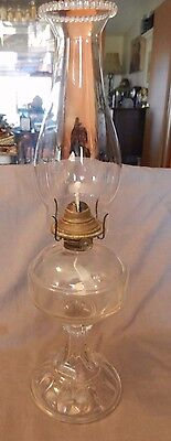 "Vintage Clear Glass Kerosene or Oil Lamp with Banner Brass Fitting 18"" Tall (M)"