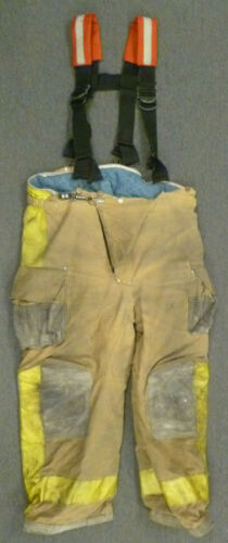 42x28 Janesville Yellow Firefighter Pants w/ Suspenders Turnout Fire Gear P041
