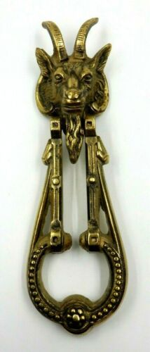 "VINTAGE 11"" LONG HEAVYWEIGHT GOTHIC SATANIC GOAT HEAD BRASS DOOR KNOCKER"