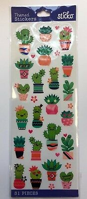 1 Sheet 31 individual cute  Cactus stickers scrapbooking card planner - Scrapbook Stickers