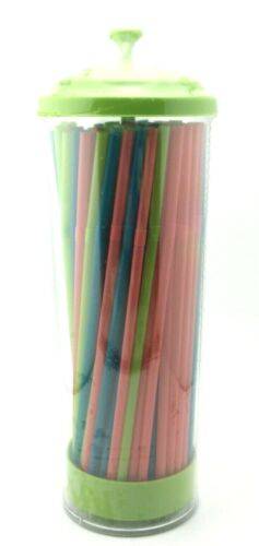 Straw Dispenser Clear And Teal 100 Count Flexible Straws Green & Clear