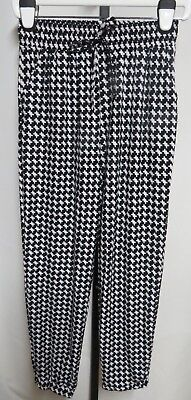 NWT Kathy Black White Herringbone Brushed Poly Soft Jogger Pants M/L
