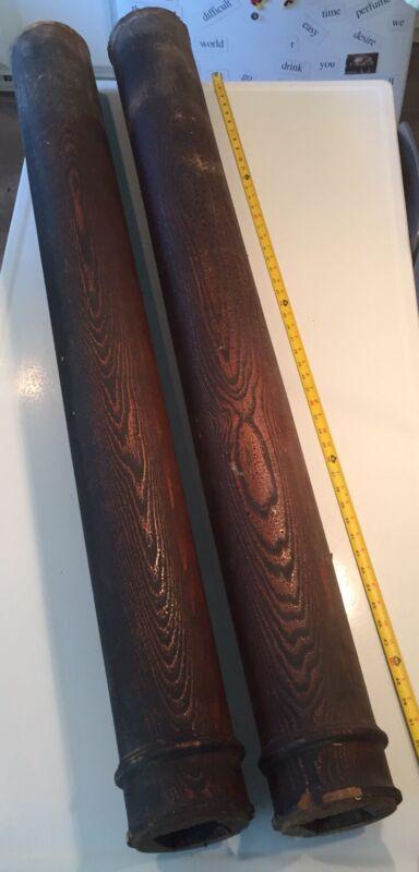 "Qty 2 ARCH SALVAGE-ANTIQUE WOOD COLUMNS/PILLARS ~ 54.5"" LONG"