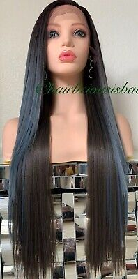 "pastel lace front wig Light Blue Dark Brown Ombré Straight Heat Ok 26"" Long"