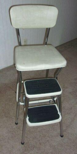 Vtg Cosco Metal Vinyl Kitchen Step Stool Pantry Chair Cream Color 2 Steps