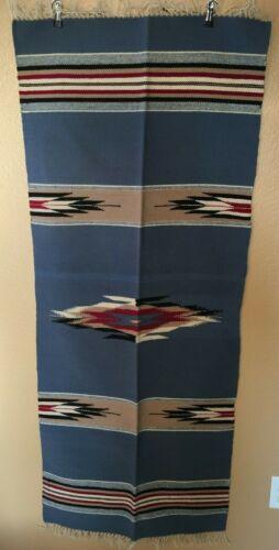 "New Handwoven Blue Red Tan Wool Rug Trujillo's Chimayo NM Weaving Blanket 24x60"""