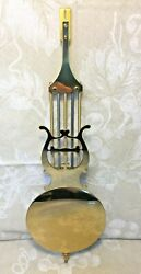 Vintage Brass Look Wall Clock Pendulum Metal w/ Gold Colored Lacquer Finish